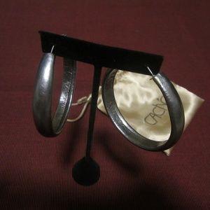 Pewter Hoop Earrings by Cache
